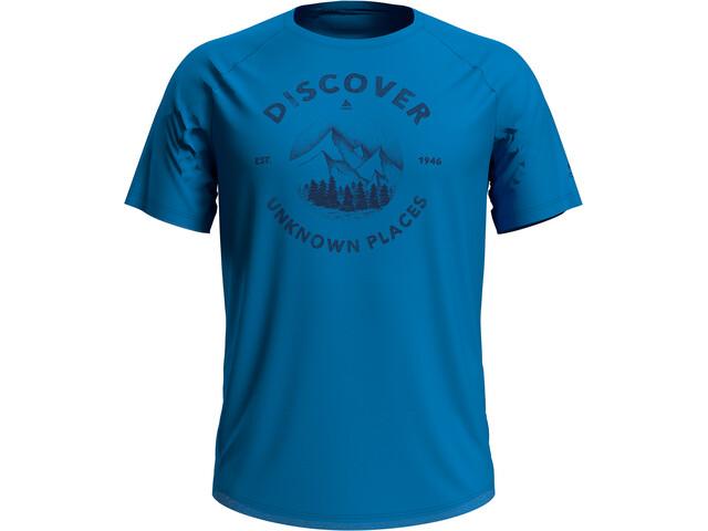 Odlo Concord Camiseta Manga Corta Cuello Redondo Hombre, blue aster/discover print